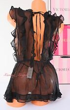 $198 NWT VICTORIA'S SECRET Designer VS Set Babydoll V-String 100%Silk M Black