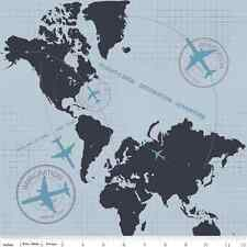 Fat Quarter Detour Plane Flight Path Grey Cotton Quilting Fabric World Atlas