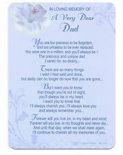 Dad Grave Cards In Loving Memory Bereavement Graveside Memorial Keepsake Dad