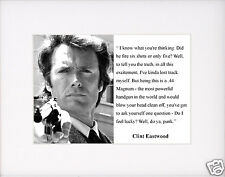 "Clint Eastwood Dirty Harry "" feel lucky"" Quote Matted Photo Picture"
