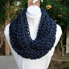 INFINITY SCARF LOOP COWL Denim & Navy Dark Blue Wool Blend Crochet Knit Circle