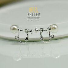 Clips a Vis Pour DIY Boucles d`Oreilles Argenté Perle Blanc 8mm Retro Original
