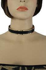 New Women Narrow Black Gold Punk Rock Fashion Short Choker Necklace Earrings Set