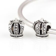 silver crown imperial big hole European slide princess Charm gift bracelet uk