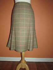 Talbots Size 12P Camel Houndstooth Check A-Line Wool Skirt Below the Knee