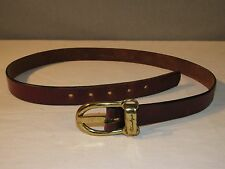 Vintage Etienne Aigner Brown Leather Skinny Belt Women's Size 30