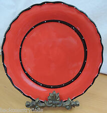 Casa Vero Red with Black and White Polka Dot Rim 1 Dinner Plate