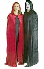 Long Velour Black Hooded Cape Cloak Halloween Fancy Dress Costume NEW P6805