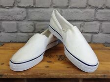 ADIDAS UK 5 EU 38 WHITE ADIDRILL CANVAS SLIP ON TRAINERS PUMPS SUMMER