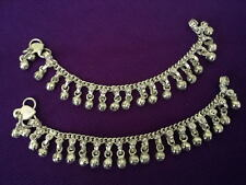 Ethnic child silver chain bells anklet set ankle bracelet Indian foot jewelry 7""