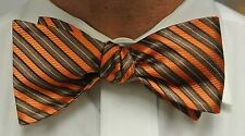 "NEW! Hand Made.100% ORANGE & BROWN Stripes SELF TIE Bow Tie. 2.5"" wide."
