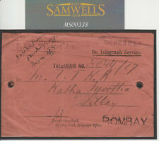 MS338 1889 Anillos de latón India ohmios oficial telegráfico Env * diferidos * Cubierta Bombay