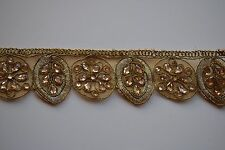 ATTRACTIVE ETHNIC INDIAN CUTWORK LACE TRIM WITH CRYSTALS FLORAL PATTERN- 1 METER