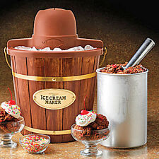 HOMEMADE ICE CREAM MAKER ~ ELECTRIC 4-QUART WOODEN BUCKET MACHINE ~ ICMW-400