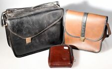 BLACK AND BROWN CAMERA GADGET BAGS W/ MINI POUCH SET OF 3
