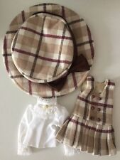 Blythe Pullip Doll Outfit Brown Tone Checks Dress with Hat and White Shirt Set
