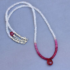Rainbow Moonstone Pink Red Ruby Quartz Ombre .925 Silver Necklace U&C Sundance
