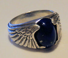 Eagle Wing Ring in Sterling Silver w/ natural Blue Lapis Lazuli - Size 9 Wide