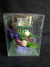 "TEA LIGHT CANDLE HOLDER 6"" Pedestal Stand Purple Floral Glass Mirror Background"