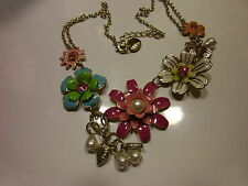 ENAMEL FLOWER Choker Necklace Pink Blue and Pearl Hearts and Flowers BEAUTIFUL!!