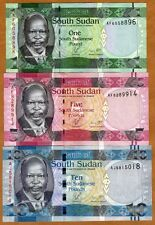 SET South Sudan, 1;5;10 Pounds, 2011, Pick 5-6-7, UNC