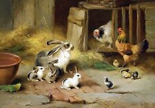 "Edgar Hunt, Rabbits, chickens, Farmyard Offspring, antique decor, 16""x11"" Art"