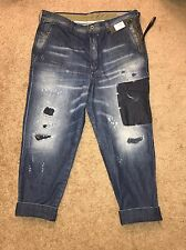 NWT Diesel Carrot Chino Distressed  Denim Jeans Trousers Patched  $328 Size 31