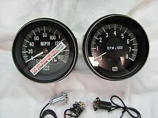 Stewart Warner Large Block 160mph Speedometer 8K Electric Tachometer 3 3/8 mount