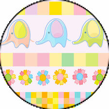 ✿ 24 Edible Rice Paper Cup Cake Toppings - Baby shower elephant duo ✿