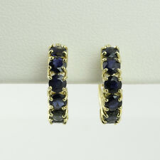 2.0 CTW SAPPHIRE HALF-HOOP HUGGIE EARRINGS in 14K YELLOW GOLD SETTINGS