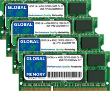16GB (4 x 4GB) DDR3 1600MHz PC3-12800 204-PIN SODIMM MEMORY RAM KIT FOR LAPTOPS