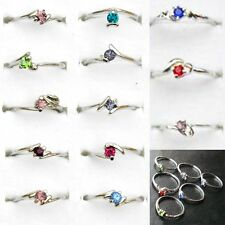 10Pcs Wholesale Jewelry Bulk Mixed Silver Plated Multicolor Crystal Finger Rings