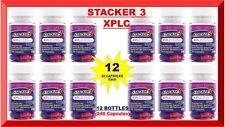 Stacker 3 XPLC Herbal Weight Loss 20 Capsules (Lot 12 X Bottles) = 240 Exp. 8/19