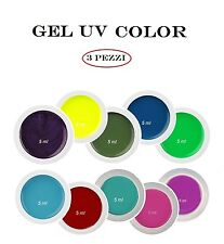 Kit Set 3 Gel UV Color Mix NDED Ricostruzione Unghie Nail Rosa Blu Bordeaux Fluo