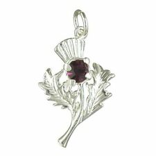 Silver and purple crystal Scottish thistle pendant