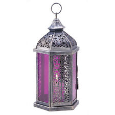 Antique Pewter Finish Enchanted Amethyst Candle Lantern