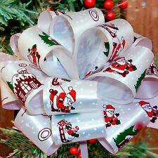 6 Christmas Santa Sleigh White Red Green Pull Bows Gift Decorations