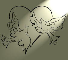 Shabby Chic Stencil 2 Doves heart Rustic Mylar Vintage style A4 297x210mm wall