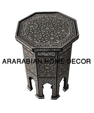 "Egyptian Moroccan 20"" Tall Mother of Pearl Inlay Wood Coffee or Side End Table"