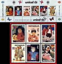 MONGOLIA 1996 UNICEF/UNO = CHILDREN + S/S MNH SCOUTS BUTTERFLIES FLAGS