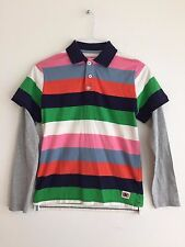 Mini Boden 1/2 Button Polo Shirt w/Faux Long Sleeve Multicolor Size 11-12Y