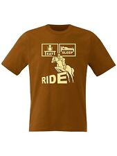 Eat Sleep Ride Horse Riding T Shirt Jumps with Tack, Jodhpurs and Saddles