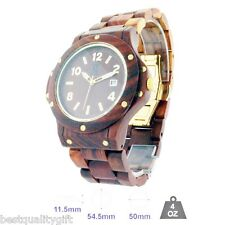 WN NATURAL WOOD-100% TOXIC FREE MEDIUM BROWN+GOLD TONE SWISS MOVEMENT MEN WATCH