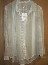NEW✿ Free People LADIES XS BLOUSE SHIRT TOP SHEER IVORY Vanilla NWT