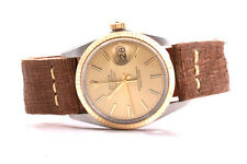 Rolex Mens 18K/SS Datejust Champagne Stick Dial - Brown Strap - Quickset Model