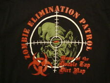 "Zombie Elimination Patrol ""Home of the Double Tap Dirt Nap"" Gun Scope T Shirt L"