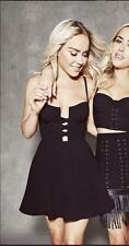BEBE BLACK LACED UP FRONT BUSTIER FLARE DRESS NWT NEW $129 SMALL S XSMALL XS 4