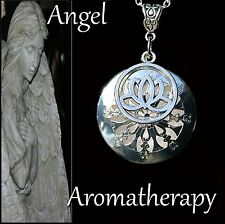 Essential Oil Diffuser Silver Lotus Locket Necklace Aromatherapy U.S. Seller