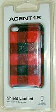 AGENT 18 SHIELD LIMITED RED/BLACK CHECK PLAID iPOD TOUCH 4th HARDSHELL COVER NEW