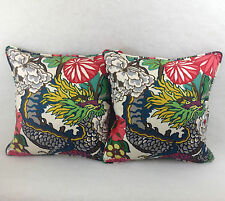 Schumacher Fabric 1 pair of Cushion Covers In Chiang Mai Dragon In Alabaster